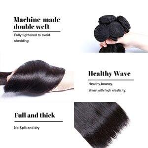 "Image 3 - MS Kat Haar Braziliaanse Steil Haar 1/3/4 Bundels 100% Human Hair Weave Bundels Natuurlijke Kleur 8 "" 26"" Remy Hair Extensions"