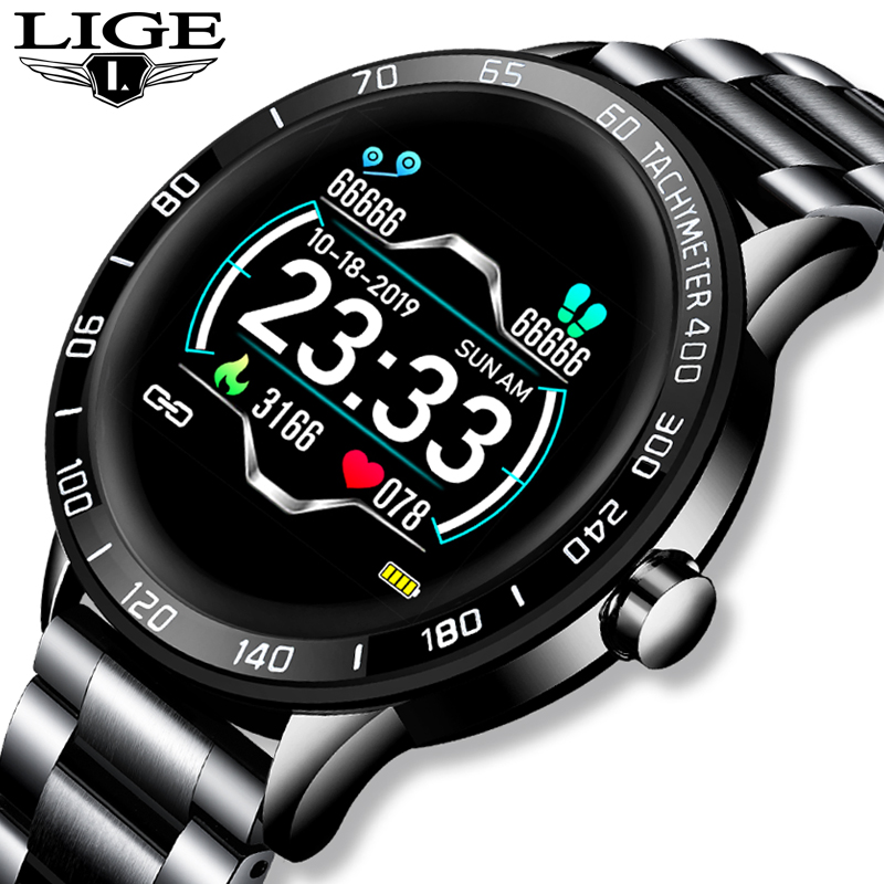 LIGE Steel Smart Waterproof Watch Men Leather Smart Watch Sport For IPhone Heart Rate Blood Pressure Fitness Tracker Smartwatch