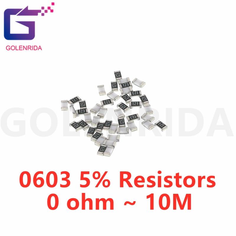 100pcs 0603 1/8W 5% chip resistor resistors 0 ohm ~ 10M 0R 1K 4.7K 4K7 10K 100K 1 10 100 220 330 ohm 0R 1R 10R 100R 220R 330R