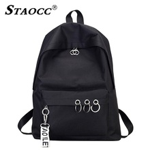 купить 2019 New Women Backpack Solid Canvas Ring Casual Travel Backpack School Bag For Girl Brand Female Mochilas Bagpack Shoulder Bag дешево