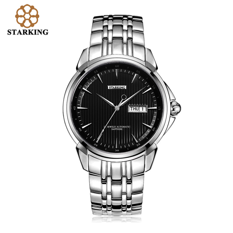 <font><b>STARKING</b></font> Men's Luxury <font><b>Automatic</b></font> Self-wind Stainless Steel Wrist Watch Rose Gold Elegant Men Watches With <font><b>Sapphire</b></font> Crystal Clocks image