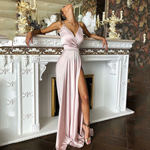 Smileven A-Line Spaghetti Strap Prom Dresses 2020 Sexy V Neck Side Split Pink Evening Party Gowns Floor Length Party Dress цена и фото