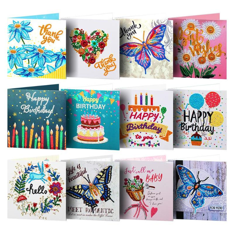 Christmas Diamond Painting Greeting Cards Special Shape Embroidery Birthday Gift