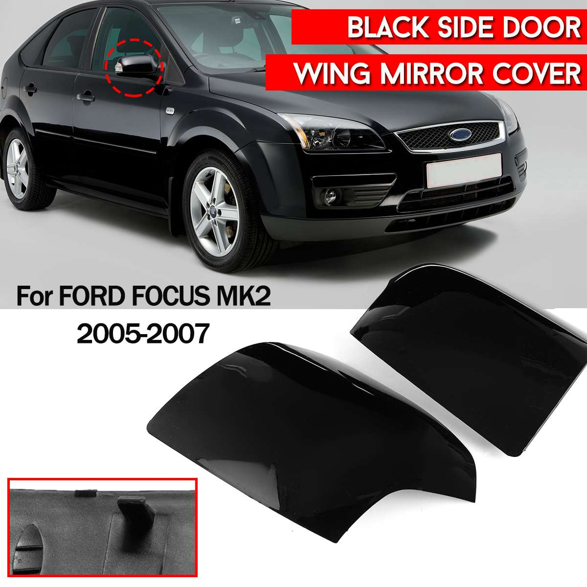 L/R For FORD for FOCUS MK2 2005 2007 ABS BLACK SIDE DOOR WING MIRROR COVER CAP CASING TRIM DRIVERS ST CC|Mirror & Covers| |  - title=