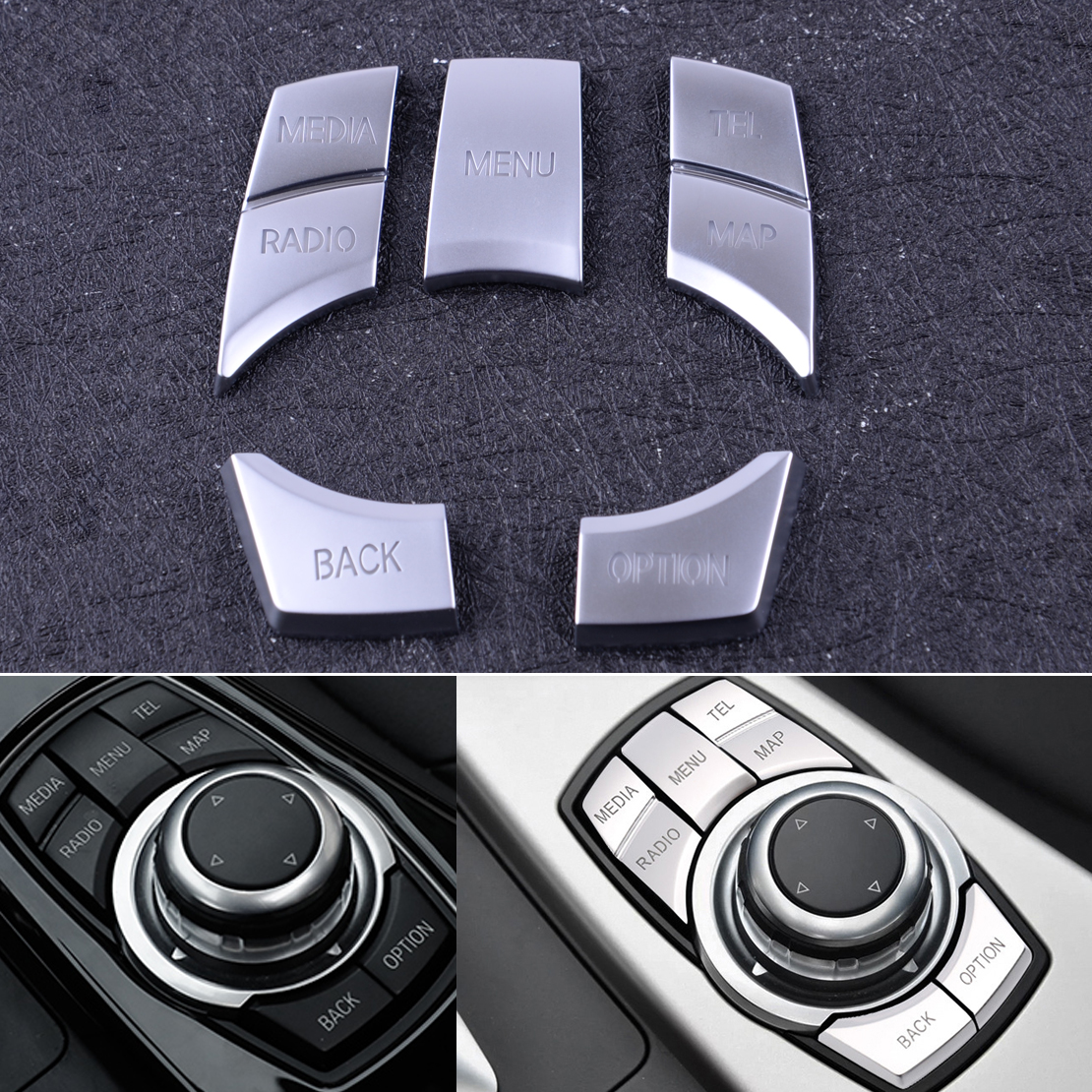Beler Silver 5Pcs ABS IDrive Multi Media 7 Buttons Cover Trim Decal Fit For BMW 2 3 4 5 6 X5 X6 IDrive I3 Z4 M