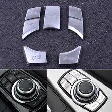 Beler capa prata 5 peças, abs idrive multi mídia 7 botões guarnição decalque adequado para bmw 2 3 4 5 6 x5 x6 idrive i3 z4 m