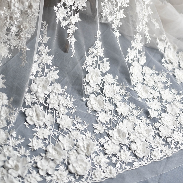 1 ensemble (3 rangées) 88cm luxe plume perles broderie dentelle tissu tissu robe de mariée ruban garniture bricolage couture dentelle bord