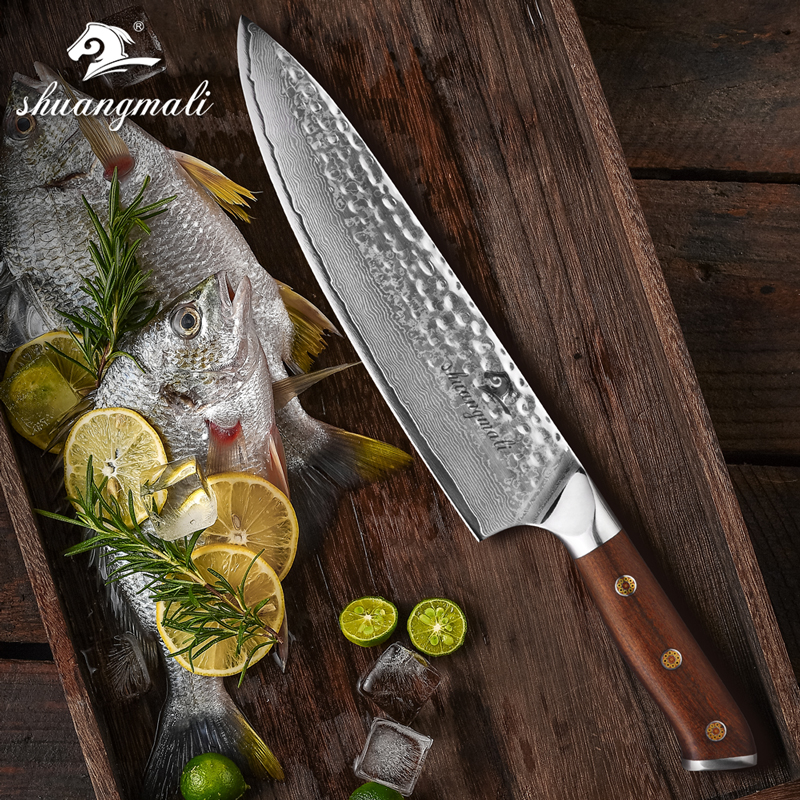 8 Inch Chef Knive Forge Damascus Steel Utility Kitchen Knife Slicing Cleaver Knifes Home Cooking Tool With Ironwood Handle
