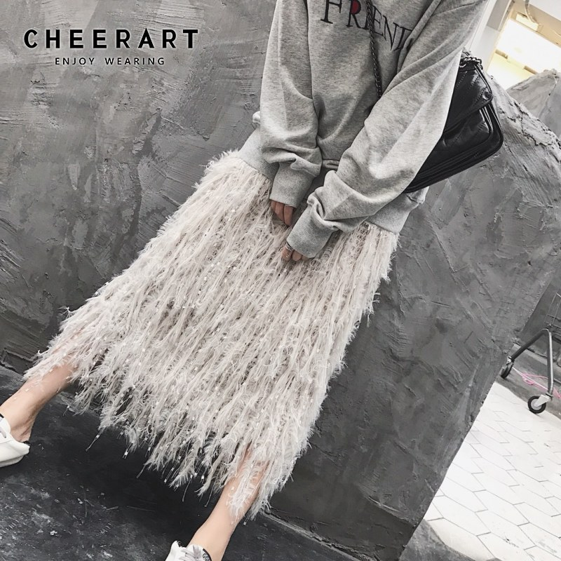 Cheerart Fall Knit Skirt Women Designer Feather Sweater Skirt Grey A Line Elastic High Waist Long Midi Crochet Skirt Fashion