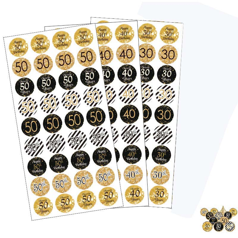 6 sheets 216pcs happy 30th 40th 50th 60th <font><b>70th</b></font> 80th <font><b>birthday</b></font> paper stickers cheer <font><b>birthday</b></font> Gift Box Anniversary party decor image