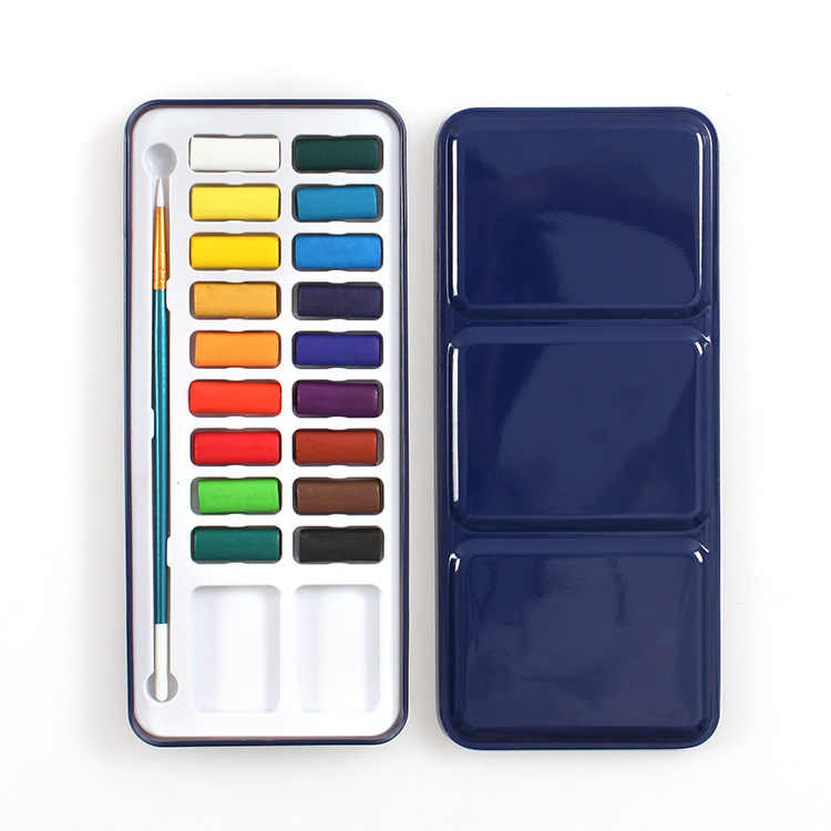 Pincel de pintura de agua portátil pintura de acuarela sólida Beginner acuarela Set pigmento caja de hierro niños boceto acuarela