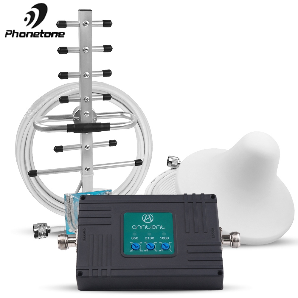 850/1800/2100MHz Mobile Repeater GSM 2G 3G 4G LTE Cellular Signal Booster 70dB Tri Band Signal Repeater Amplifier & Antennas Set