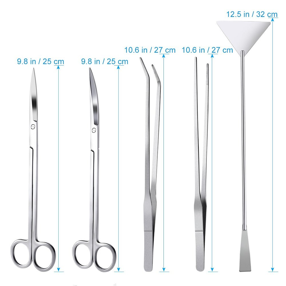 "Image 3 - 6 PCS/lot 10"" Aquarium Cleaning Tools Aquascaping Landscaping Tool Kits Stainless Steel Aquatic Plants Scissors Tweezers Set-in Cleaning Tools from Home & Garden"