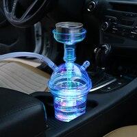 여행 저렴한 Chicha 플라스틱 Sheesha 휴대용 작은 소매 자동차 물 담뱃대 Shisha LED 빛으로 설정 Shisha 물 담뱃대 Hookahs