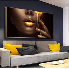 African Nude Woman Canvas Painting Gold Sexy Lip Black Posters Prints Wall Art Picture for Living Room Home Decoration Cuadros