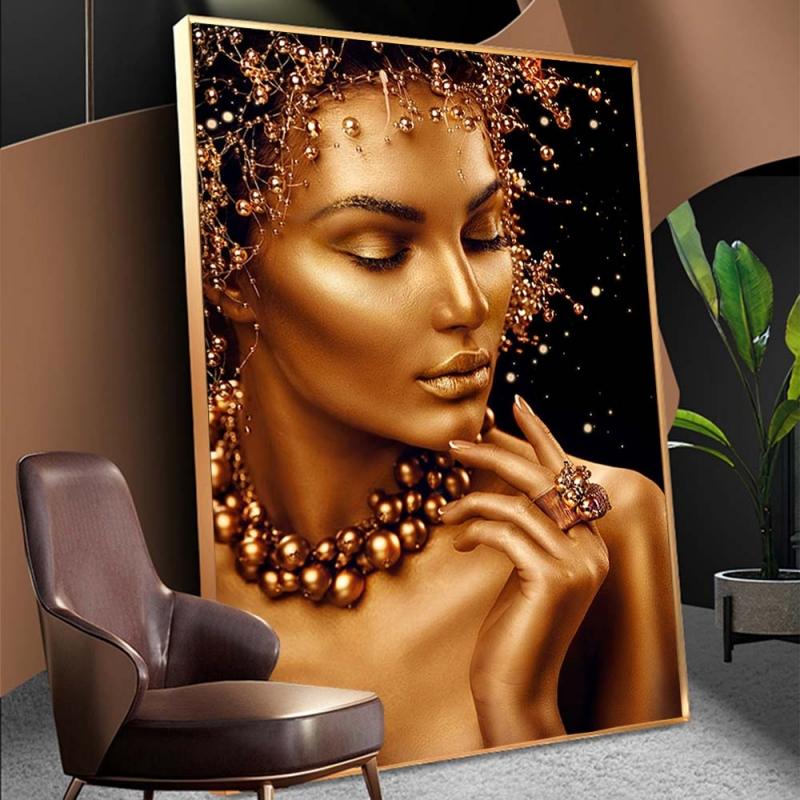 Sexy Black and Gold Woman Oil Paintings on Canvas Nude Art Cuadros Posters and Prints Modern Wall Art Pictures for Living Room(China)