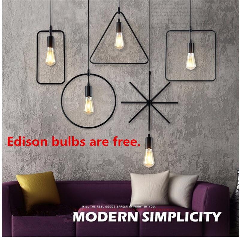 Vintage Industrial Pendant Lights Loft Hanglamp Geometric Pattern Black Pendente Iuminação E27 Edison Lamparas De Techo Colgante
