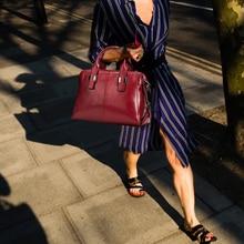 цена на Women Shoulder Bag 100% Genuine Leather Black Handbag Lady Casual Tote Purse Bags Female Designer Ladies Shoulder Messenger Bags