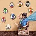 8 pçs dos desenhos animados superheros adesivo para parede para meninos bebê quarto decalques da parede de vinil à prova dwaterproof água murais arte decoração da sua casa