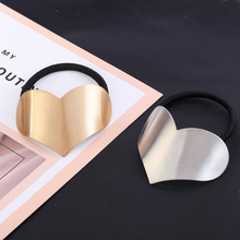 New Classic Heart Shape Brushed Metal Wire Hair Rope High Quality Elastic rings for Elegant Fashion Women Accessories
