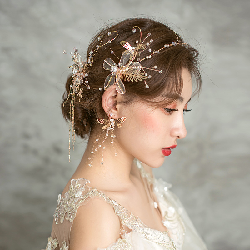Hair-Accessories Drop-Earring Headdress Bride-Side-Clip Rhinestone Golden-Headband Handmade