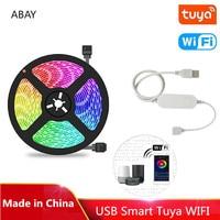 1m 2m 3m 4m 5m DC5V USB LED Streifen Licht RGB TV Hintergrund Lichter Tuya wifi Controller Alexa Stimme APP Control 5050 SMD Band Lampe