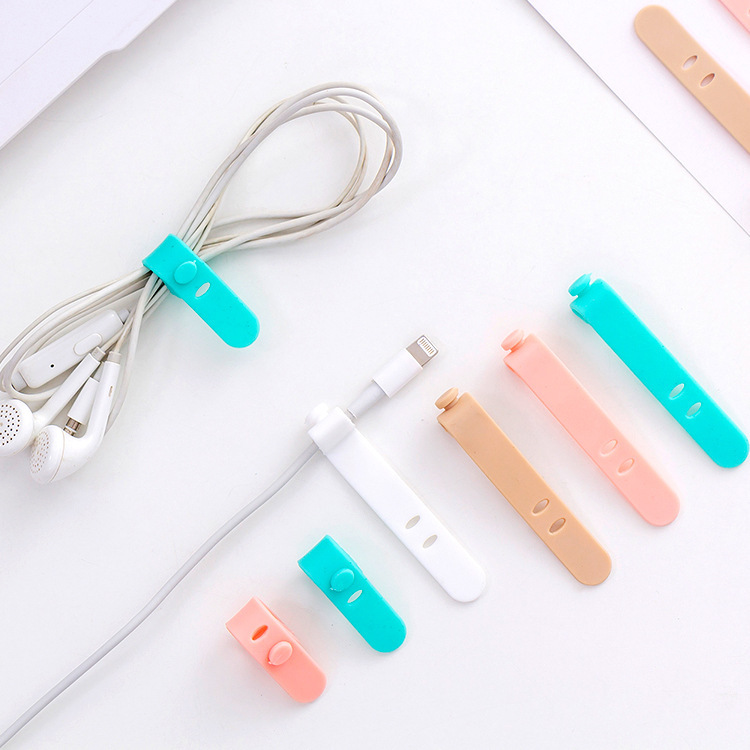 Creative Korean Version Cord Manager Earphones Hub 4 PCs Silica Gel Elasticity Data Cable Cord Manager A Generation Of Fat