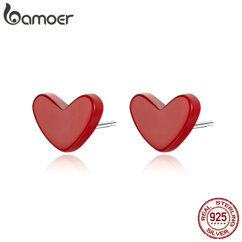BAMOER 2019 Stud Earrings Anti Allergic Red Stone Turquoise Ear Pin Women 925 Sterling Silver Female Korean Jewelry SCE595