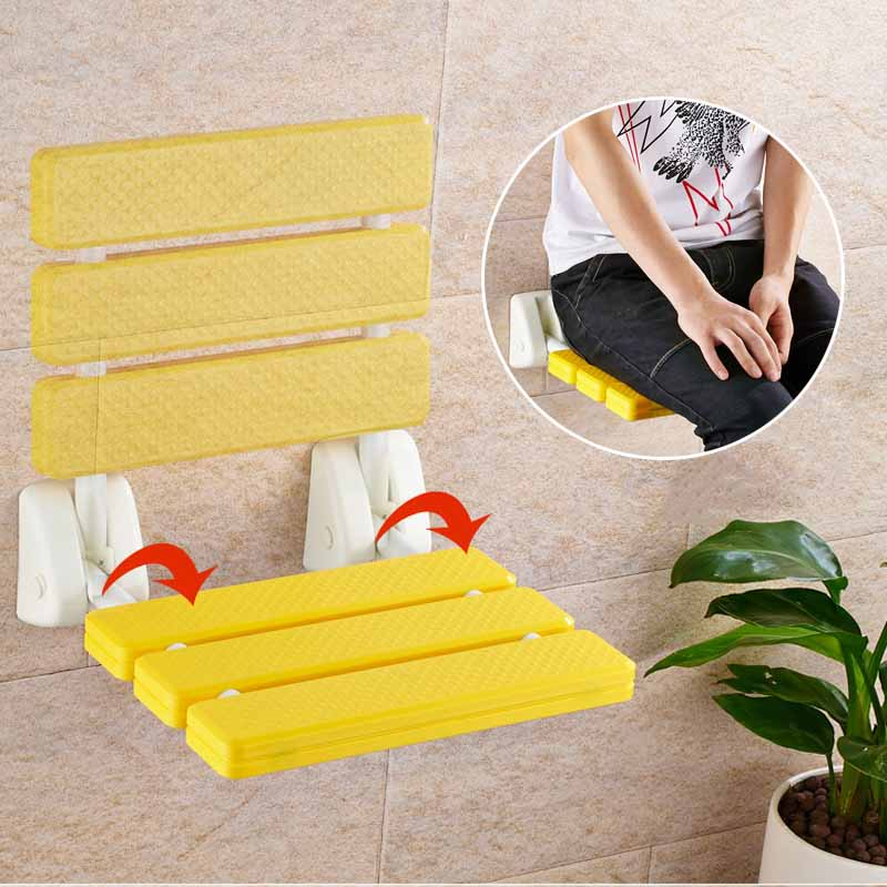 Folding Wall Shower Seat Wall Mounted Relax Shower Chair Solid Seat Spa Bench Bathroom Supplies