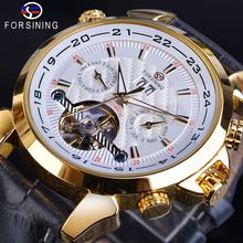 Forsining Brand Tourbillon Mens Mechanical Watch Golden Moon Phase Automatic Date Genuine Leather Band Male Dress Clock Relojes ik brand luxury diamond automatic mechanical clock casual genuine leather strap moon phase business mens s watch