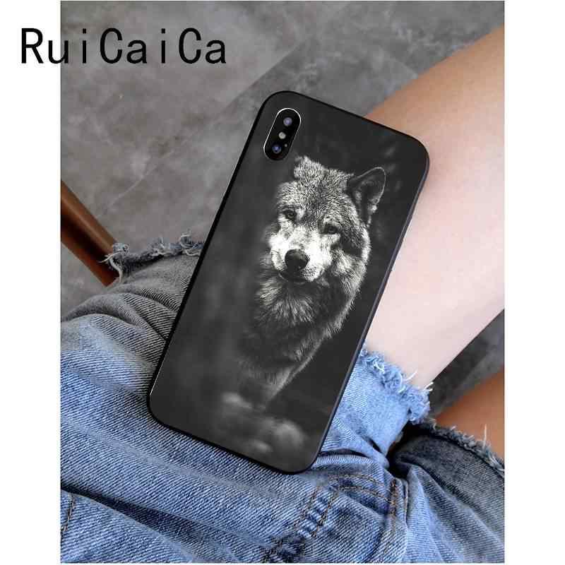 RuiCaiCa Cool Wolf Faceสีดำนุ่มโทรศัพท์สำหรับiPhone 8 7 6 6S Plus X XS MAX 5 5S SE XR 11 11pro 11Promax