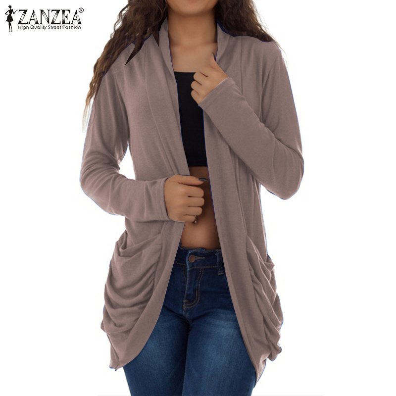 Women Knitted Sweater Cardigans 2019 ZANZEA Elegant Ladies Pockets Cardigan Long Sleeve Open Front Knit Sweaters Female Kardigan