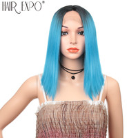 14inch Short Straight Hair Synthetic Lace Front Bob Wigs Omber Glueless Blue Cosplay Or Party Bob Lace Wig For Black/White Women