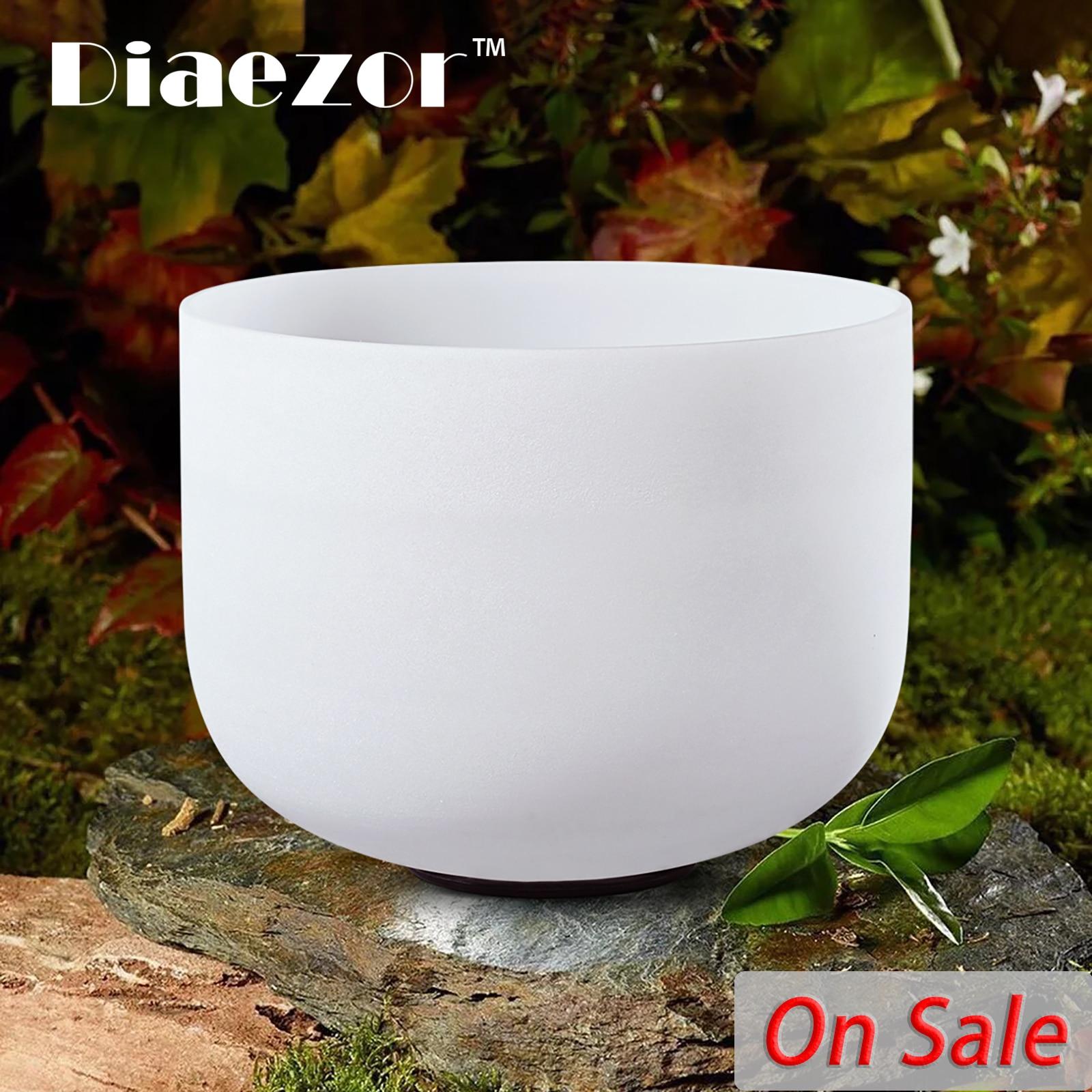 Diaezor 12 Inch Meditation Healing Chakra Stone Frosted Quartz Crystal Singing Bowl C D E F G A B 12