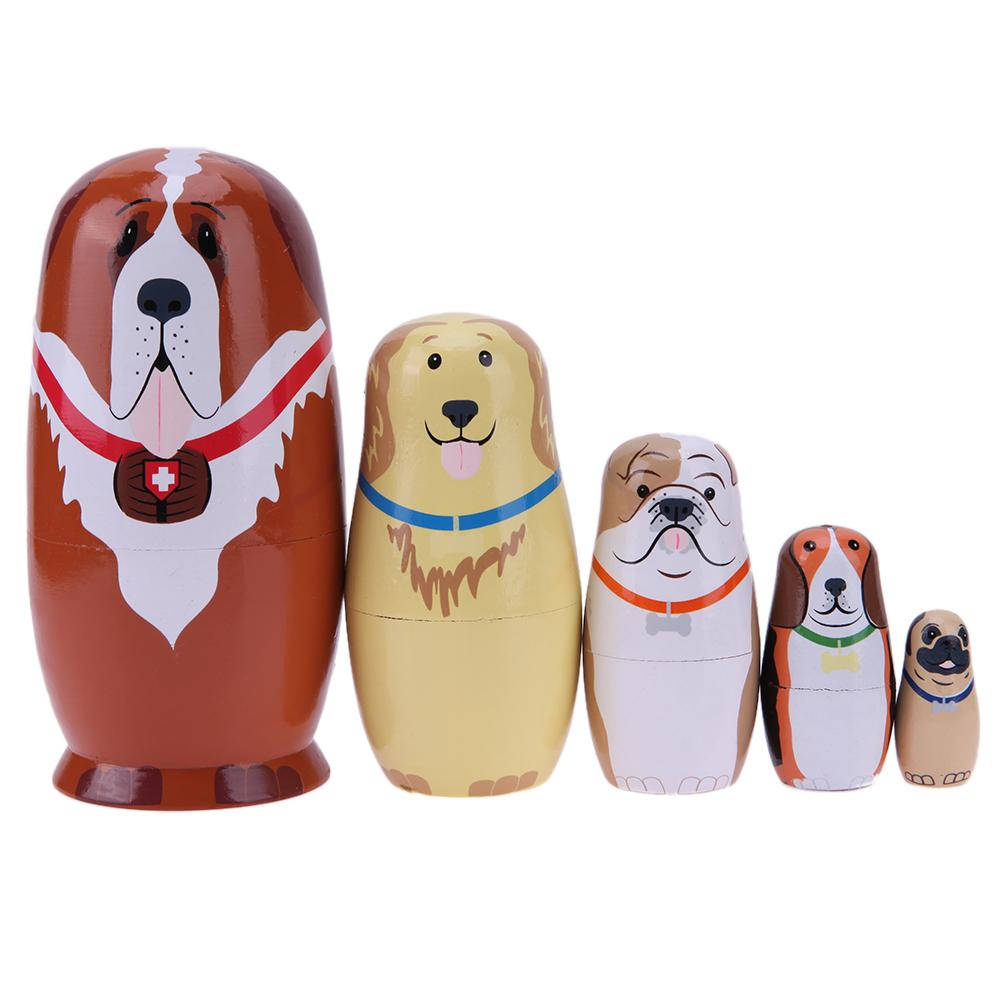 5 stücke Holz Hund Gedruckt Russische Matryoshka Puppen Handmade Nesting Dolls Geschenke
