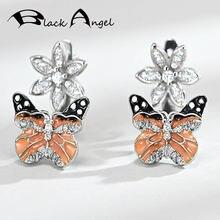 Женские серьги гвоздики с бабочкой серебро 925 пробы