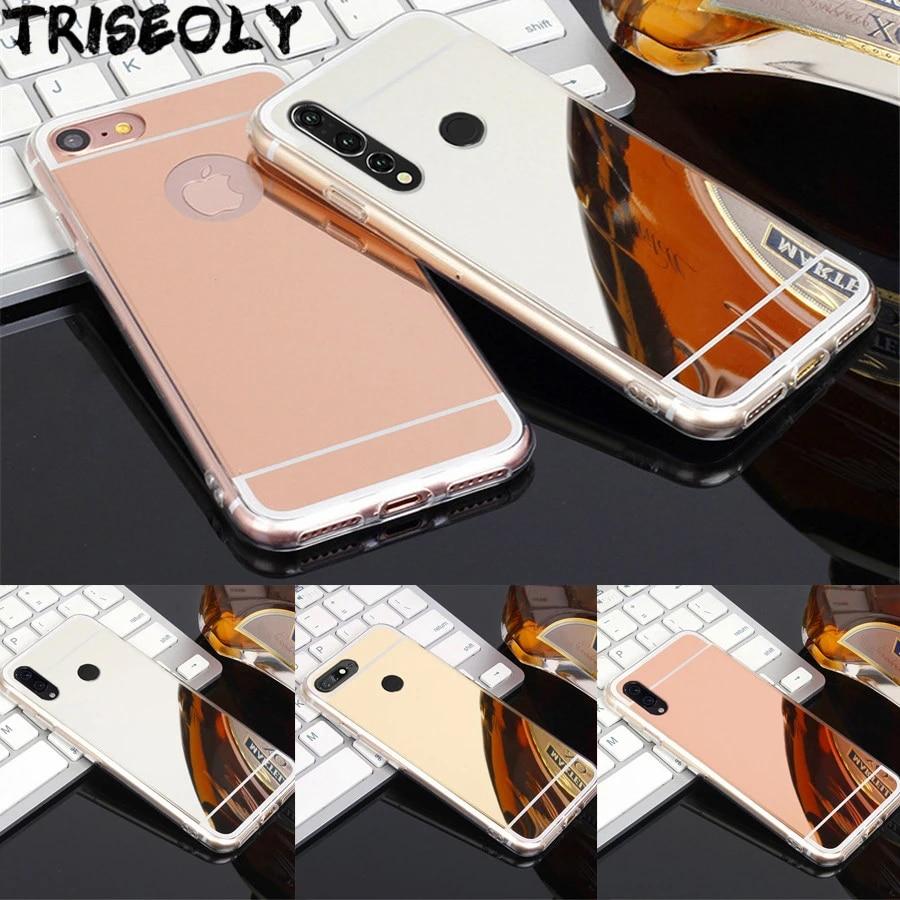 Coque de téléphone en TPU avec miroir, Rose et or, pour Huawei Y3 Y5 Y6 Y7 2017 2018 Y6 Y7 Pro Y5 Y9 Prime 2018 Y9 Prime 2019