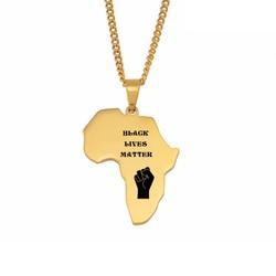 Anniyo preto vive matéria áfrica mapa colares mulher homem, cor do ouro aço inoxidável personalizado texto orgulhoso africano ornamento # 055521b