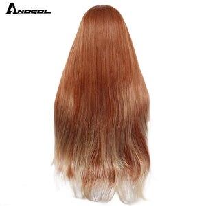 Image 4 - ANOGOL Auburn Arancione Sintetico Parrucca Anteriore Del Merletto Lungo Rettilineo Parte Centrale di Rame Rosso Resistente Al Calore Parrucca per Le Donne