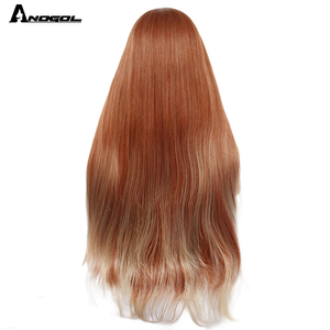 Image 4 - ANOGOL Auburn Orange Synthetic Lace Front Wig Long Straight Middle Part Copper Red Heat Resistant Wig for Women