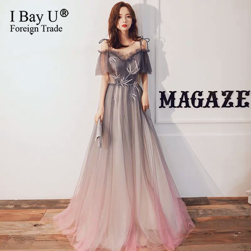 In Stock New Luxury Beading Evening Dress Sexy Off Shoulder Tulle Beach Shining Glitter Prom Formal Gown Custom Robe De Soiree