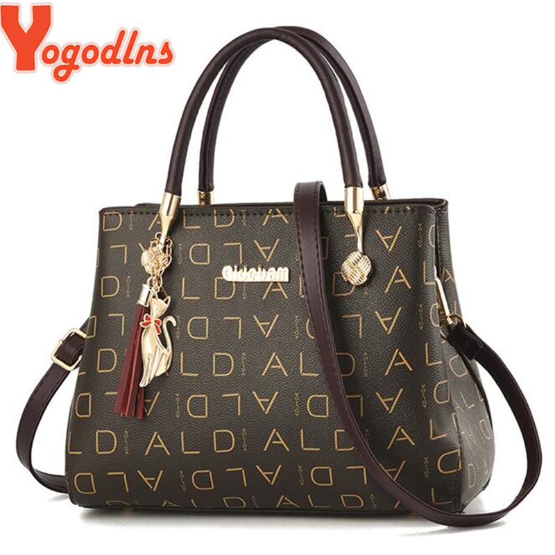 Yogodlns Luxury Letter Print Women's Handbags Female Shoulder Bag With Cat Tassel Ornament Office Lady Square Crossbody Bag Tote