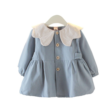 DFXD 2020 Spring Autumn Baby Girls Outwear New Korean Style Solid Long Sleeve Single-breasted Jacket Toddler Kids Coat Fashion girls solid jacket