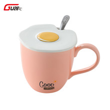 Ceramic Cute Egg Mugs With Spoon Coffee Tea Milk Animal Cups With Handle 425ml Omelette Lid Drinkware Novelty Chritmas Gifts(China)