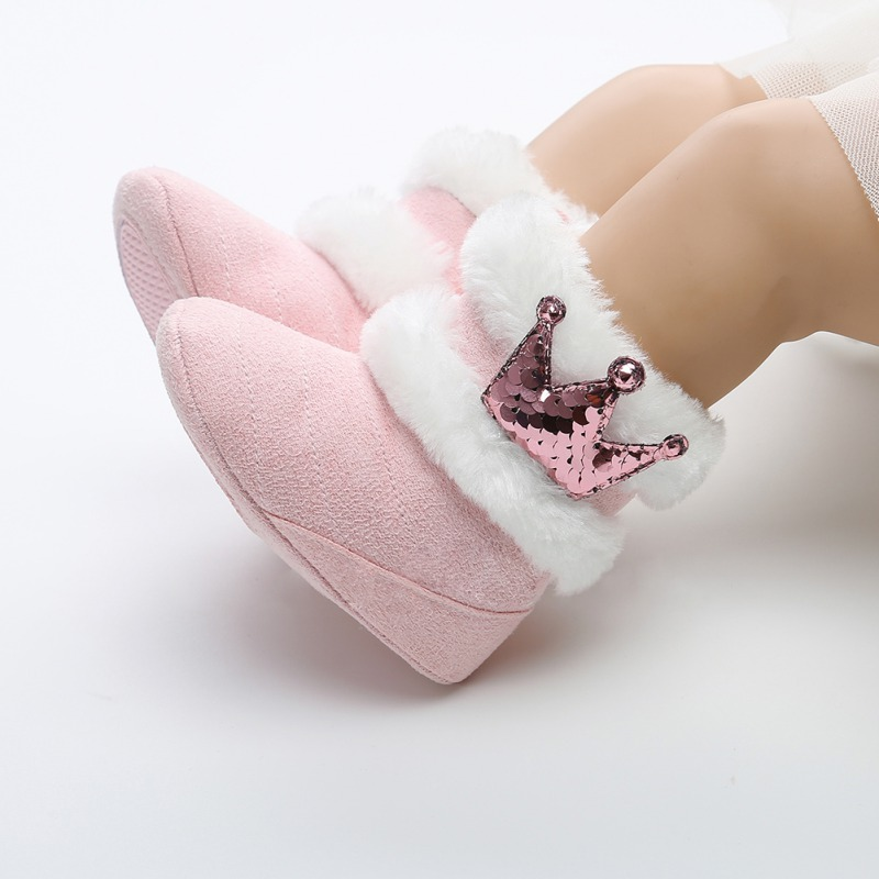 Spring Winter Newborn Infant Baby Girls Boots Warm Cute Comfortable Crown Ornament Fur Mid-Calf Length Slip-On Furry Boots 0-18M