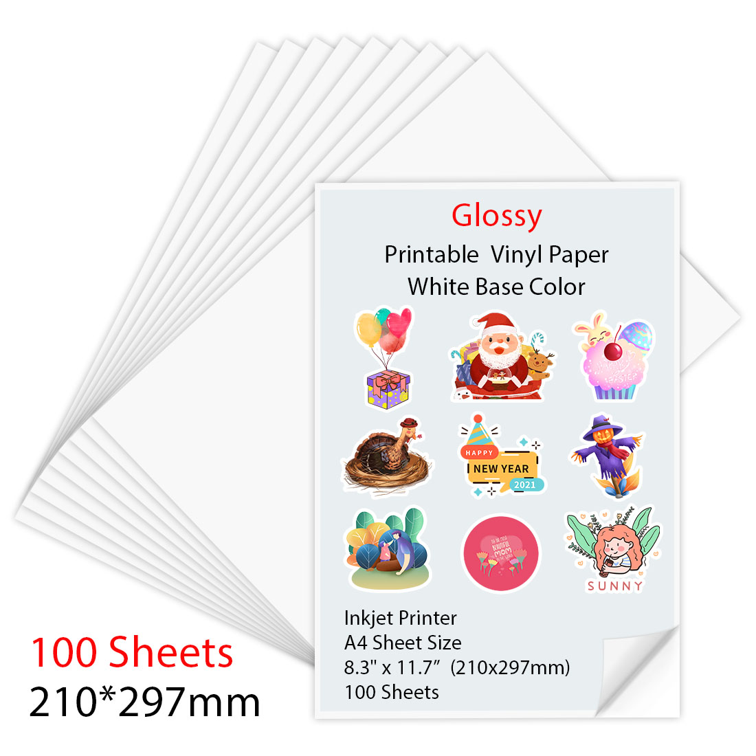 10/30/50/100 листов A4 глянцевая виниловая наклейка для печати Бумага бумага для струйных принтеров 210*297 мм Копировальная бумага для струйных при...
