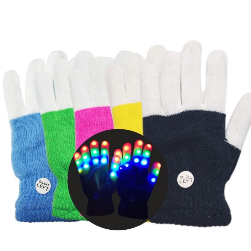 Kids LED Finger Flashing Gloves 7 Modes Light Up Xmas Party Rave Dance Prop Toy