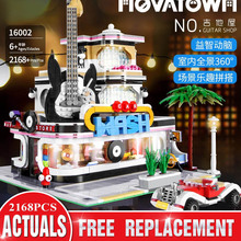 Building-Blocks Guitar-Shop Mould King Street-View Christmas-Toy Led-Light Construction