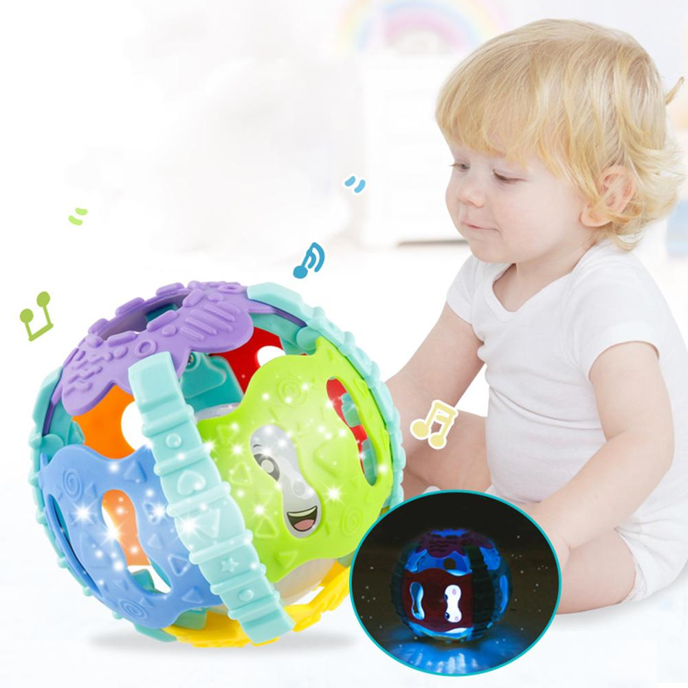 10cm Baby Teeth Grinding Toys Colorful Babies Soft Hand Grab Rattle Ball Sound Light Educational Teething Chewing Learning Toys