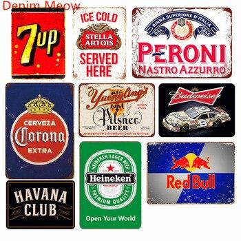 Helado Bebidas frías cerveza decoración Vintage Metal estaño signos bebida  suave Cola placa Retro Pub Bar Casino Metal pared arte decoración WY57
